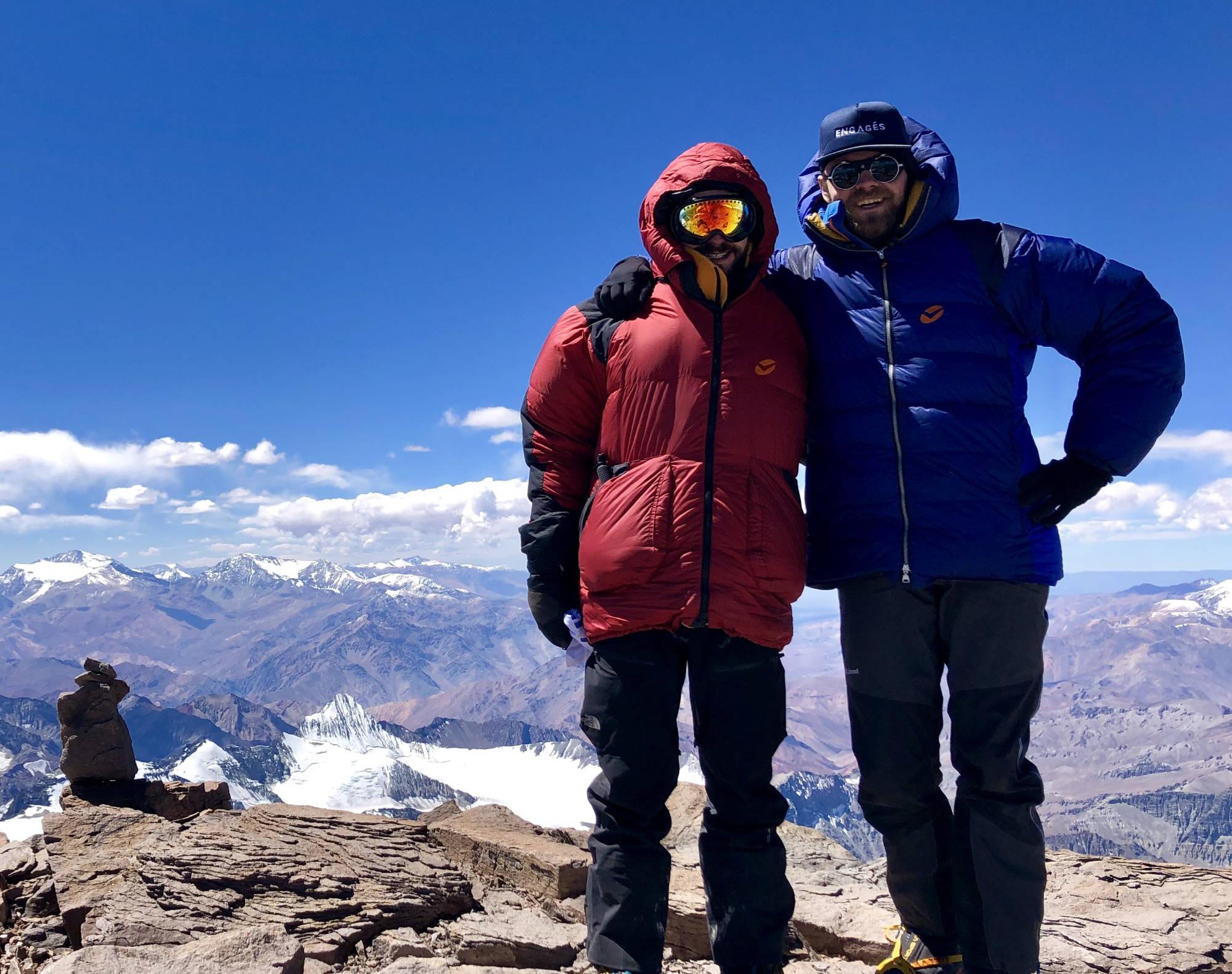 Thomas et Maxime au sommet de l'Aconcagua