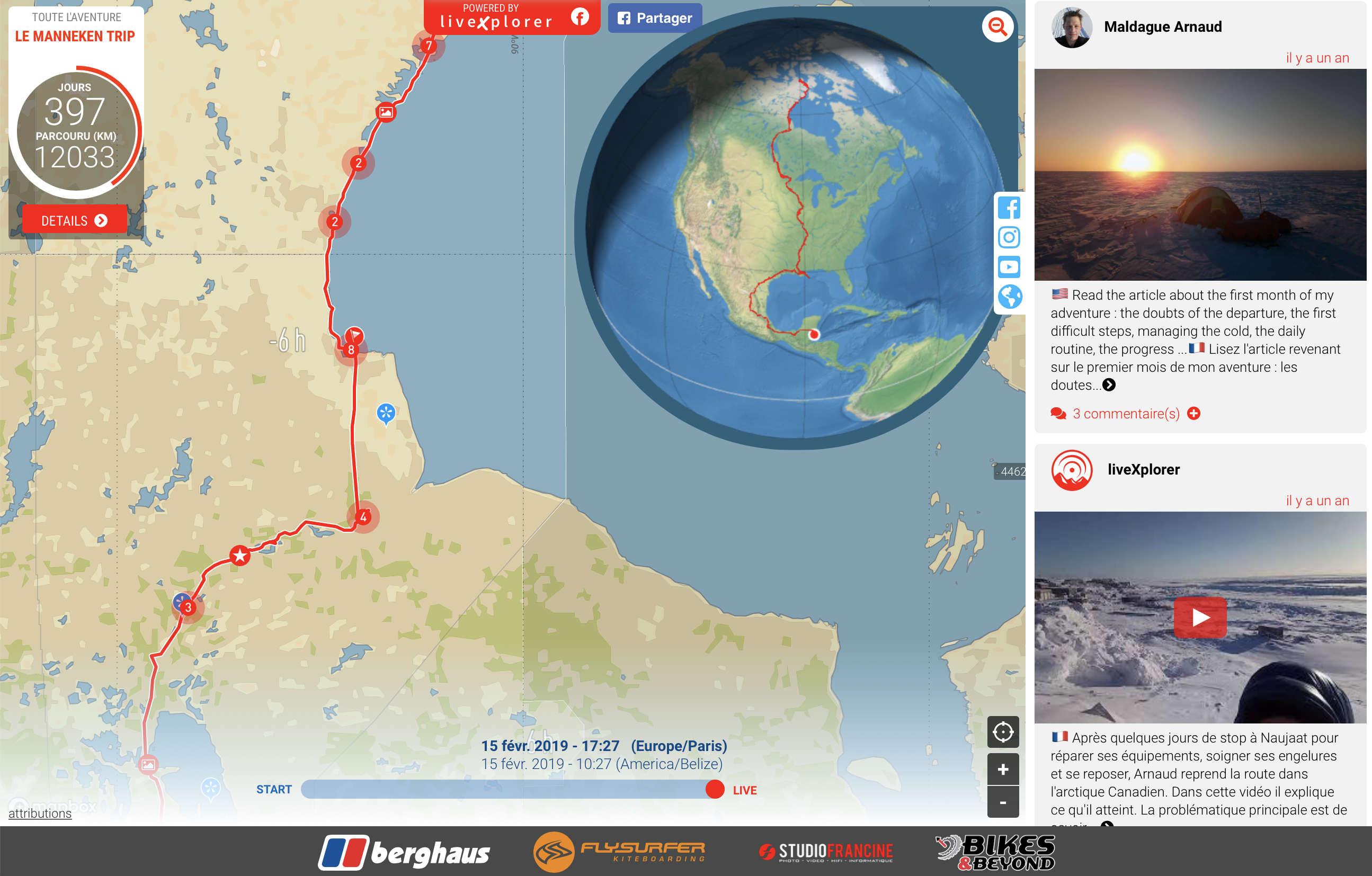 Equipé d'un tracker GPS et d'un terminal de connexion à internet par satellite, le jeune aventurier belge Arnaud Maldague à partagé en temps réel sa traversée du grand nord Canadien pendant plusieurs mois