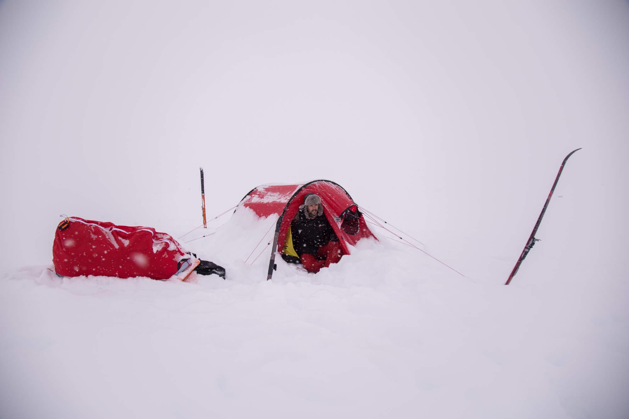 L'aventurier Matthieu Tordeur lors de son entrainement en Norvège